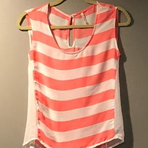 Hot pink and white Striped Sleeveless blouse